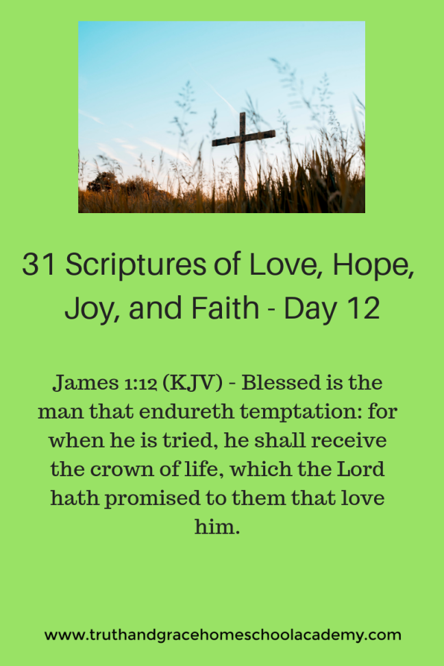James 1_12 - Blessed is the man that endureth temptation_ for when he is tried, he shall receive the crown of life, which the Lord hath promised to them that love him.