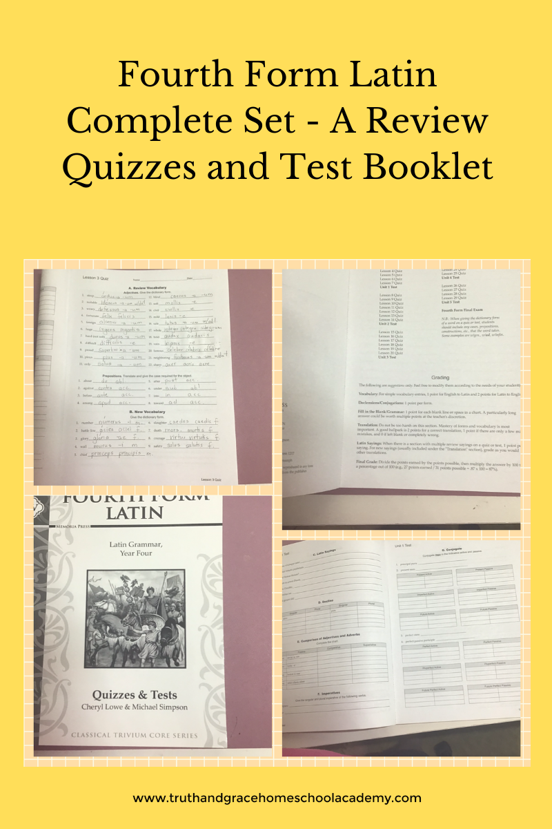 Fourth Form Latin Complete Set - A Review Quizzes and Test Booklet